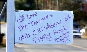 A sign of support posted in Newtown after the Sandy Hook shootings